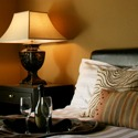Luxurious guestroom at full serivce The Clarke Hotel in Historic Downtown Waukesha